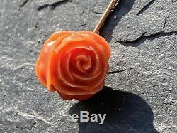 Victorian Carved Coral Rose Stick Pin Yellow Gold Antique Brooch