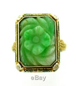 Victorian Carved Jade Enamel 14k Two Tone Gold Ring