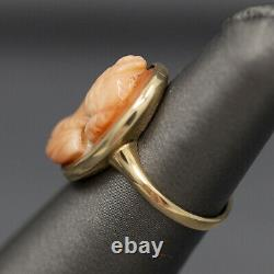 Victorian Carved Pink Coral Cameo Ring in 14k Yellow Gold