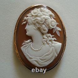 Victorian Carved Shell Cameo Brooch Pendant 9ct Gold Classical Lady Or Clytie