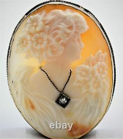 Victorian Carved Shell Cameo Pendant withDiamond in 14K White Gold ANTIQUE