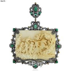 Victorian Carving Gemstone Emerald Pendant Gold Silver Designer Diamond Jewelry