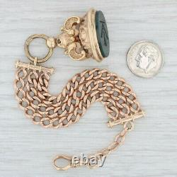 Victorian Chatelaine Watch Fob 14k Gold Carved Green Bloodstone Chalcedony