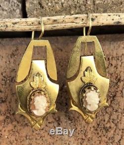 Victorian Edwardian 14k Yellow Gold Carved Shell Cameo Women Dangle Earrings