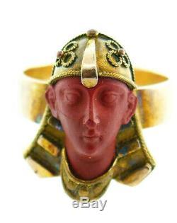 Victorian Egyptian Revival 10k Gold Carved Jasper Stone Pharaoh Masonic Ring