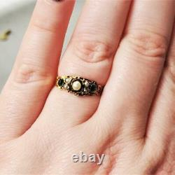 Victorian Emerald & Pearl Ring c1873 Gold 15k Carved Shank Handmade Antique