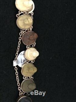 Victorian Gold Carved Cameo Lava Bracelet