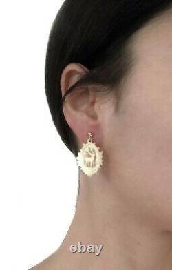 Victorian Gold Carved Deer Earrings