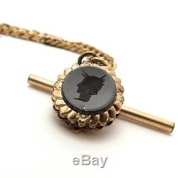 Victorian Gold Filled Curb Link Pocket Watch Chain T bar Carved Onyx Soldier Fob