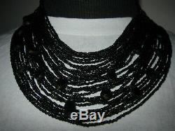 Victorian Gold Filled Hand Carved Whitby Jet Multi-Strand Necklace