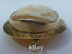 Victorian Hand Carved 14K Yellow Gold Cameo Brooch / Pendant