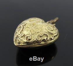 Victorian Hand Carved Heart Shape 14K Yellow Gold Locket Pendant