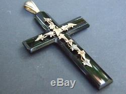 Victorian Hand Carved Mourning Jet Pendant Decorated w 18ct. Gold Leaves 1860's