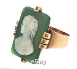 Victorian Hand Carved Shell Green Wedgewood Cameo Diamond Ring 14K Yellow Gold