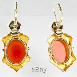 Victorian Hardstone Cameo Drop Earrings Gold Enamel Exquisitely Carved EE808