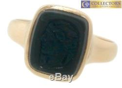 Victorian Ladies 14K Yellow Gold Cameo Carved Bloodstone Portrait Ring