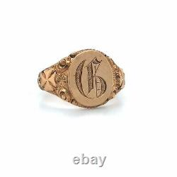 Victorian Letter G Signet Ring Hand Carved 10k Yellow Gold Sz 8.25