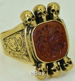 Victorian Memento Mori Skulls 14k gold&carved Carnelian stone intaglio seal ring