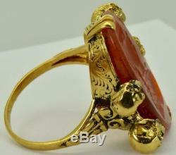 Victorian Memento Mori Skulls 18k gold&carved Carnelian stone intaglio seal ring