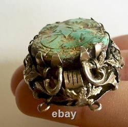 Victorian Museum piece natural Turquoise carved gold gilded sterling pendant