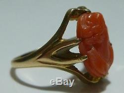 Victorian Nouveau Antique 10k Yellow Gold Carved Coral Cameo Ring Size 5.25