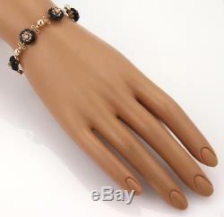 Victorian Old Mine Cut Diamond Carved Wood 18k Rose Gold 6 Charms Bracelet