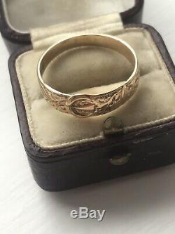 Victorian Ornate 9ct Yellow Gold Carved Buckle Ring Band