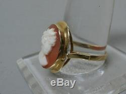 Victorian Period 18k Yellow Gold Ring, Hardstone Carved Cameo Size 8.5