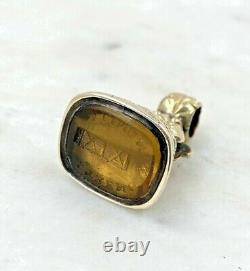Victorian Rolled Gold Fob Seal Carved Motto Strength In Unity Citrine Or Glass