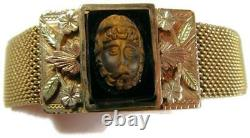 Victorian Rolled Gold Mesh Bracelet with Carved Tiger Eye Zeus & Rose Gold Leaves