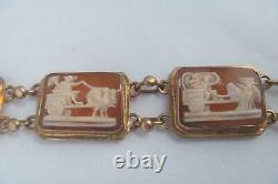 Victorian Rose Gold 800 Silver ROMAN GOD 7 Days Week Carved Shell Cameo Bracelet