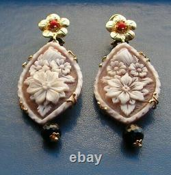 Victorian Sardonyx Relief Carved Cameo Earrings Gold Silver Italy tourmaline cor