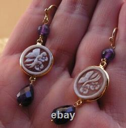 Victorian Sardonyx Relief Carved Cameo Earrings Gold Silver purple Italy