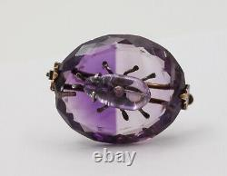 Victorian Scarab Bettle Carved Amethyst 14K yellow Gold Brooch Pin