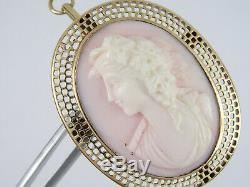 Victorian Solid 14k Yellow Gold Real Carved Angel Skin Coral Cameo Pin Brooch