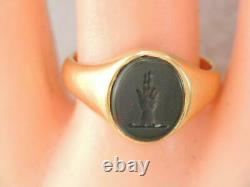 Victorian Solid 18k Gold Carved Bloodstone Intaglio Wax Seal Stamp Ring Hand