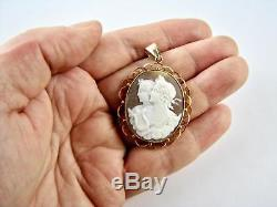 Victorian Solid 9k 9CT Rose Gold Cameo Pendant Necklace Classical V Fine Carving