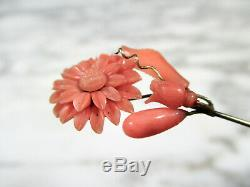 Victorian Solid Silver 9k Gold Intricate Carved Coral Floral Lapel Stick Pin Old