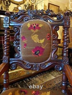 Victorian Throne Armchair Carved with Cherubs/Fairies Floral Needlepoint, heavy