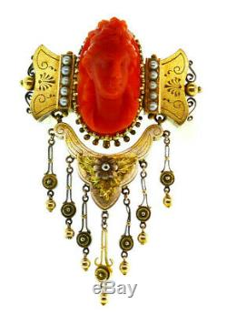 Victorian Two Tone 14k Gold Carved Coral Cameo Brooch Pendant