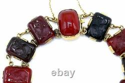 Victorian Yellow Gold Carved Carnelian Cameo Bracelet
