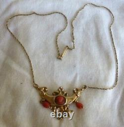 Victorian c. 1890 Carved Coral Cameo 14K Yellow Gold 16 Necklace 5G