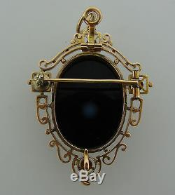 Victorian c. 1900s AGATE CARVED CAMEO PEARL YELL GOLD PIN BROOCH PENDANT Antique