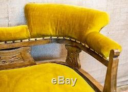 Victorian sofa, chaise longue, gold upholstery, walnut carved frame, scroll arms