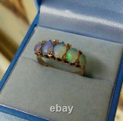 Victorian style 9 carat gold opal 5 stone ring, carved setting, size P. 5