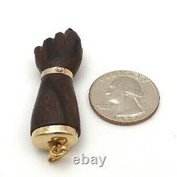 Vintage 18k Gold 750 Italy Large Carved Wood Hand Figa Malocchio Charm Pendant