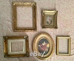 Vintage Antique Wood Gesso Ornate wooden carved Gold Picture Frames Lot 5
