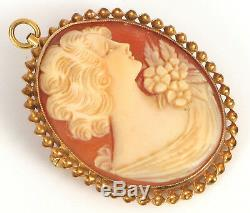 Vintage Fine 14k Yellow Gold Carved Shell Victorian Woman Cameo Pendant Brooch