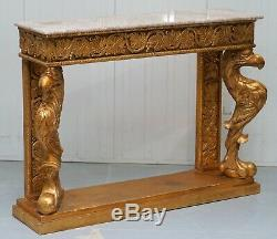 Vintage French Gold Gilt Wood Marble Topped Console Table Hand Carved Griffins