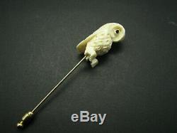 Vintage VICTORIAN 12K GOLD FILLED GF Carved B0VINE B0NE OWL BIRD STICK HAT PIN